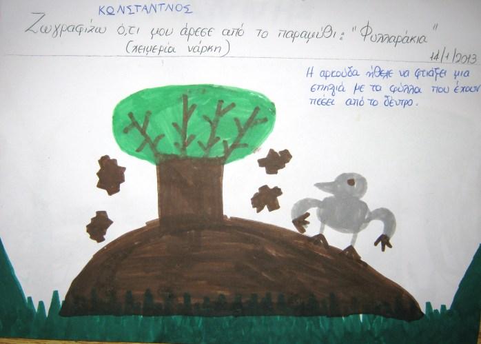 Η αρκούδα ήθελε να φτιάξει μια σπηλιά με τα φύλλα που έχουν πέσει από το δέντρο.